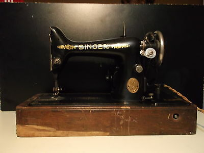 VINTAGE SINGER ELECTRIC SEWING MACHINE WITH CASE AND KNEE PEDAL