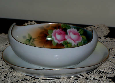 Antique Rising Sun Nippon Hand Painted Roses Gravy Boat UnderplatePink Roses