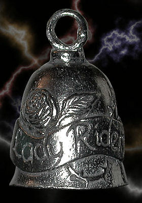 Lady Rider Pewter Motorcycle Travel Bell Gift Bag & Legend Fashion Collectible