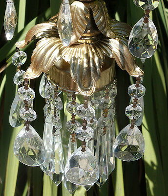 1of5 Foyer hallway hanging lily lamp Chandelier Crystal prism Brass Tole Pendant