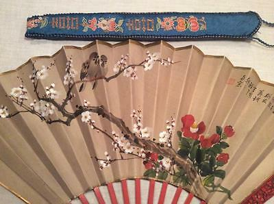 RARE ANTIQUE CHINESE PAINTED FAN EMBROIDERED SILK CASE CARVED GUARDS EMBROIDERY!