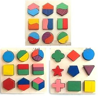 FD1768 Kids Baby Wooden Geometry Block Puzzle Montessori Early Learning Toy 1pc