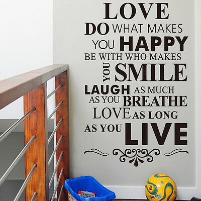 Decals DIY Happy Live Laugh Love Smile Quote Wall Paper Art Vinyl Decal Sticker