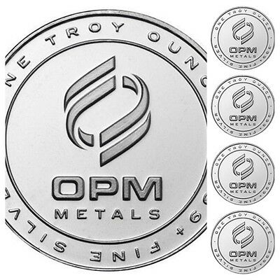 Lot of 5 OPM Ohio Precious Metals 1 oz Rounds 999 Fine Silver Bullion Coins USA