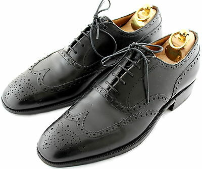 JM WESTON Handmade Oxford Brogue Black Leather Men's Shoes UK 8C EU 42 US 9