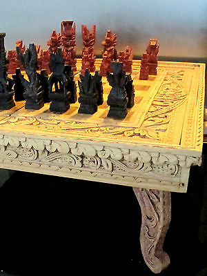 Retro Bali Wood Chess Backgammon Set Timber Box Case Pegs Folds Hand Carved