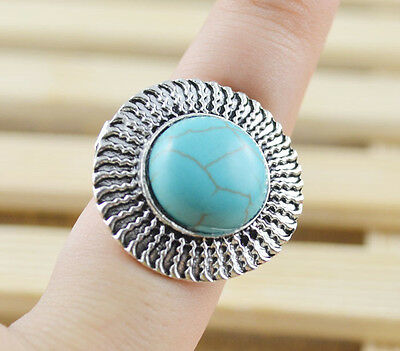 New Classical hot cute Turquoise tibet silver ring     W309