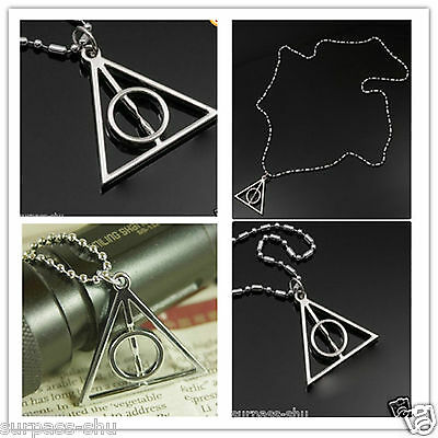 1pcs  Harry Potter Deathly Hallows Alloy Necklace MIDDLE CIRCLE CAN SPIN