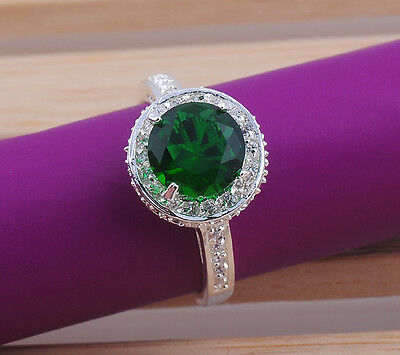 Fashion  Jewelry round emerald gemstones  925 sterling silver ring size7  M238