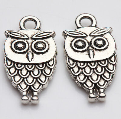 10pcs Tibet Silver Owl Spacer Beads Charm Pendants Making 18X9MM