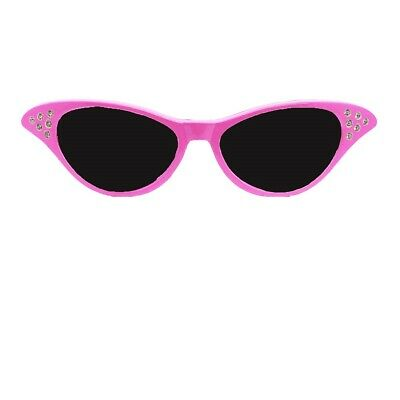 Ladies Pink Fancy Dress Glasses Sandy 50'S 1950S Rock And Roll Costume