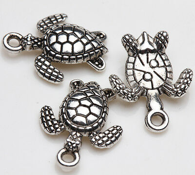 10pcs Tibet Silver Sea Turtles Spacer Beads Charm Pendants Making 16X12MM