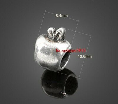 30pcs ancient silver big hole apple Charm spacer bead 10x9mm