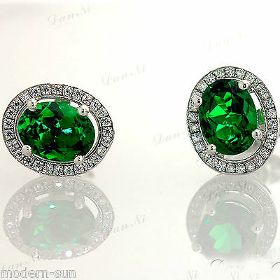 925 Sterling Silver 2.1 CT Oval Emerald Micro inlays Earrings Stud E9735
