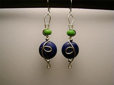 UNIQUE LAPIS LAZULI STONE BEADS/GREEN HOWLITE/SILVER LOOP WIRE WRAP EARRINGS
