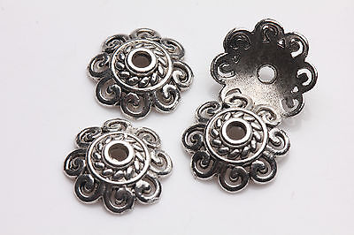 10pcs Tibet Silver Caving Flower Spacer Beads Caps Jewelry Making 14X6mm