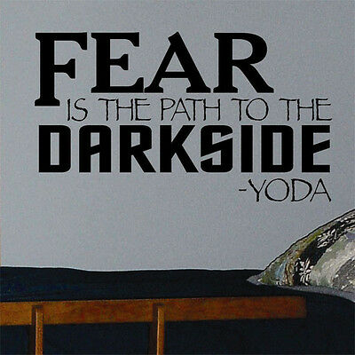 Vinyl Wall Lettering Star Wars Decals Fear the Darkside Yoda Quotes