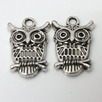 10Pcs Tibet Silver Station Tree Branches Owl Pendant Jewelry Accessorie 23x15mm
