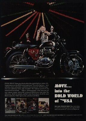1968 BSA LIGHTNING 650 cc Motorcycle - Pretty Woman Dancing at Disco VINTAGE AD