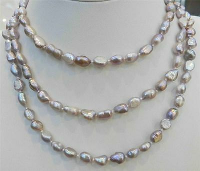 LONG 48 INCHES 7-9MM PURPLE AKOYA CULTURED PEARL NECKLACE 18KGP