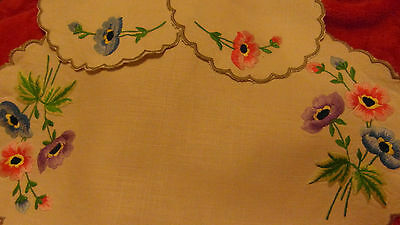AWESOME RAISED FLOWERS EMBROIDERED LINEN 3 PIECE