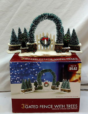 Holiday Time ~ Gated Fence w/ Trees ~ 3 Pc Set ~ Christmas Collectibles