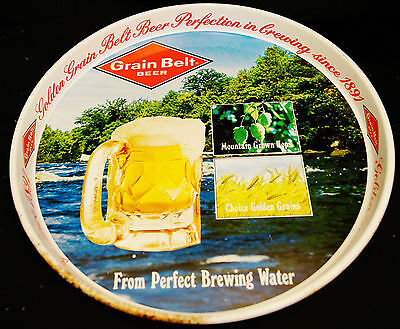 "1950's Grain Belt Beer Metal Advertising Tray ""From Perfect Brewing Waters"""