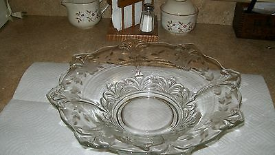 VINTAGE FLARED, ETCHED FORSTORIA GLASS BOWL, VERY GOOD CONDITION