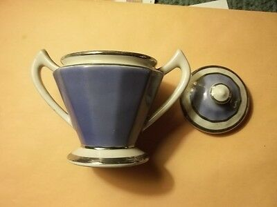FRAUNFELTER China OHIO Art Deco Sugar Bowl with Lid Silver/White/Blue