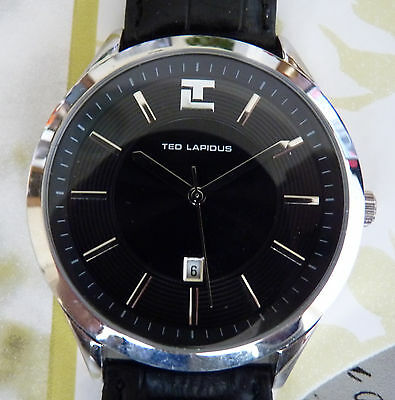 Ted Lapidus 5116201 Men's Black Genuine Leather Strap and Dial Silver-Tone