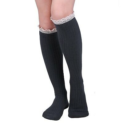 Women's Warm Knee High Boot Slouch Socks with Crochet Knit Lace Trim Cuff Topper