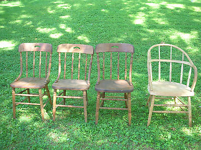 Set of (4) Plank Bottom Chairs