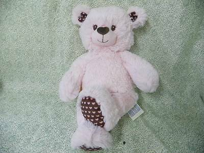 """Build a Bear """"ADORABLE PALE PINK W/HEARTS & BROWN"""" So cute & soft V3"""