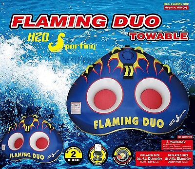 H2O Sporting Flaming Duo 2 Person / Man Water Ski Tube Towable & Tow Rope
