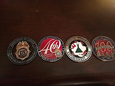 4 DEA Challenge Coins Federal Police