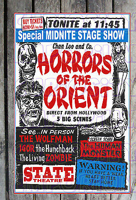 *chan Loo And Co. Horror's Of The Orient Rare Spook Show Poster Reprint#8*