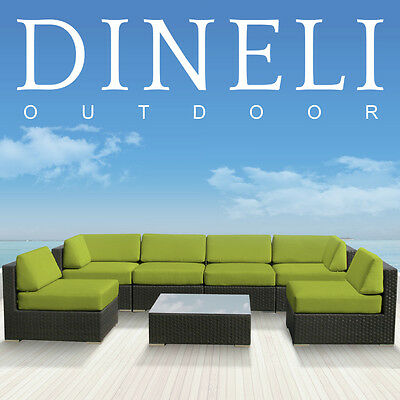 7pcs DINELI Modern Patio Wicker Set All Weather Outdoor Sectional Sofa Furniture