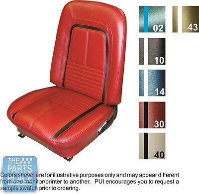 1967 Camaro Deluxe Blue / White Buckets Seat Covers & Coupe Or Conv Rear - PUI