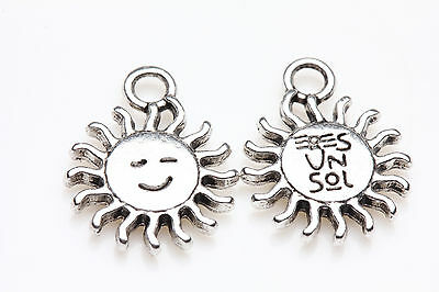 10pcs Tibet Silver Smile Sun Spacer Beads Charm Pendants Making 15X12MM