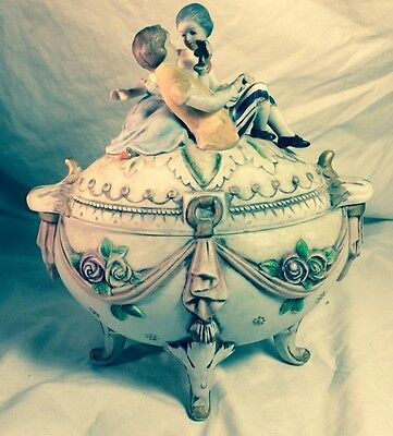 KPM German Candy Dish Vintage Porcelain Covered Footed Couple on Lid Germany