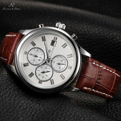 U.S.A KS Silver White Men Automatic Mechanical Date Day Month Sport Watch