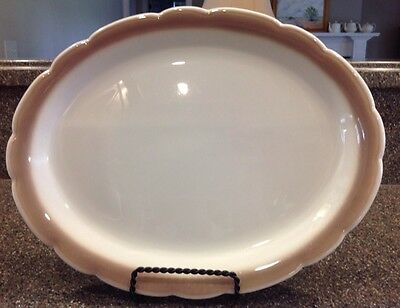 Buffalo China Platter 12.75 By 10 Inches Scalloped Tan/ Brown Edge