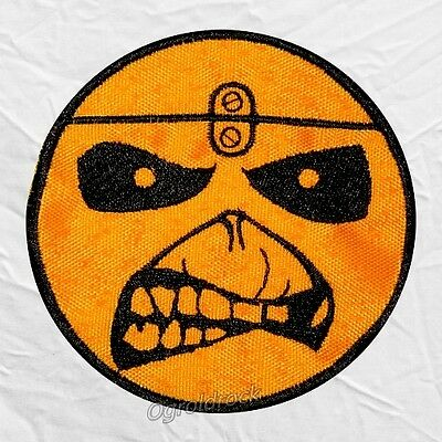 Iron Maiden Smile Eddie Face Logo Embroidered Patch Cover Album Metal Rock Band