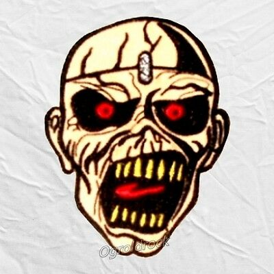 Iron Maiden Eddie Face Piece of Mind Embroidered Patch Cover Album Rock Band