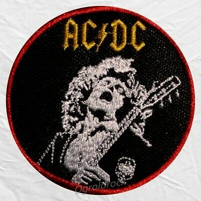 AC/DC Angus Young playing Guitar Embroidered Patch Album Cover Malcolm AC DC