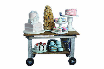 MiniMolly 1/12 th Scale Dollhouse Kitchen Food Cakes Cookies Plates Tolley Set