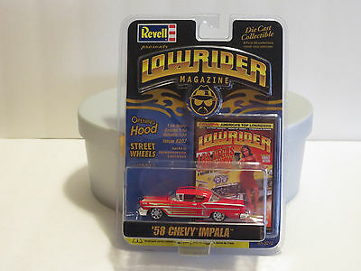 2005 Revell Lowrider Magazine Issue #207, '58 Chevy Impala, 1:64 scale. Red.