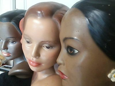 3 Ethnic Women Busts/Heads Chalkware-Plaster Statue, Vintage, 9.5 X 6.0 Inches