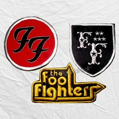 Set Foo Fighters Embroidered Patches Shield Title Logo Dave Grohl Pat Smear