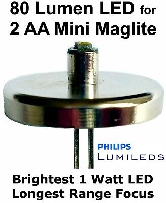 MINI MAGLITE 2 AA LED Upgrade Bulb Philips 1 Watt Torch/Flashlight Conversion